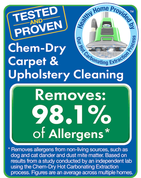 tested and proven for carpet and upholstery cleaning. Chem-dry removes 98% of allergens from carpets and upholstery and 89% of airborne bacteria, improving indoor air quality